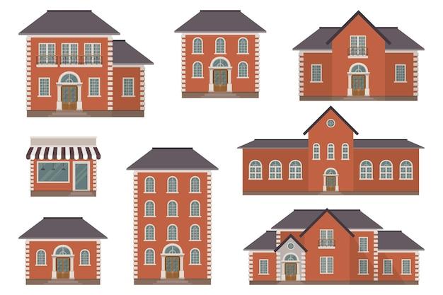 Hausbauillustration lokalisiert auf weißem hintergrund