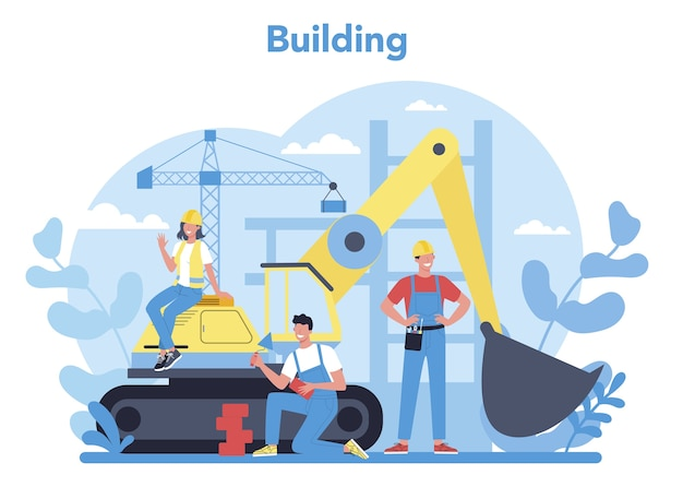 Hausbaukonzept. arbeiter, die mit werkzeugen und materialien nach hause bauen. prozess des hausbaus. stadtentwicklungskonzept. isolierte flache vektorillustration