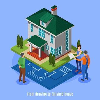 Hausbauphasen von der zeichnung bis zur isometrischen vektorillustration des fertigen hauses