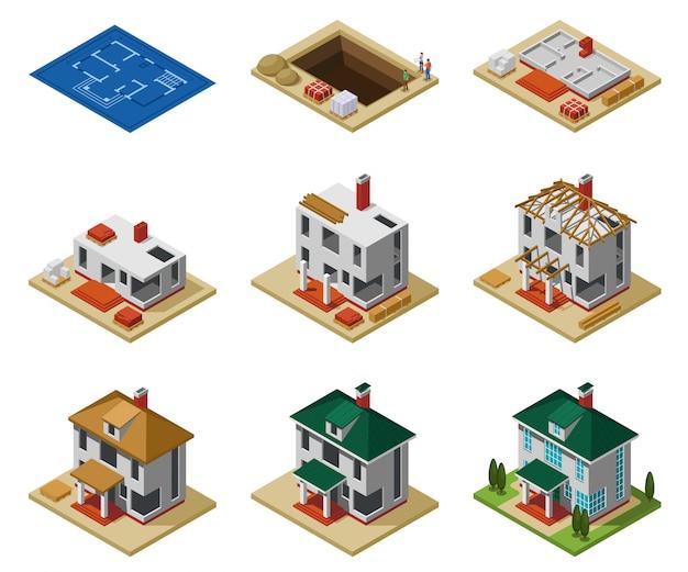 Hausbauphasen von der zeichnung zum fertigen gebäude isometrische symbole setzen isolierte vektorillustration