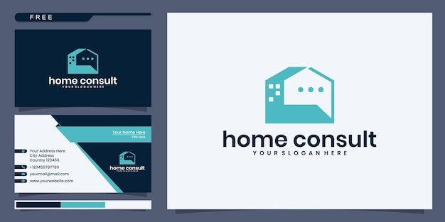 Hausberatungslogo, haus mit blasenchat. logo- und visitenkartendesign