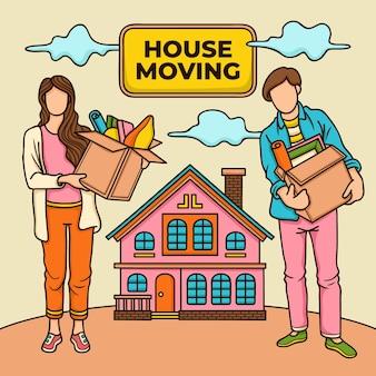 Hausbewegungskonzeptillustration