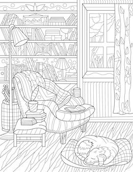 Hausbibliothek zimmer stuhl bücherregal licht lampe offenes fenster hund schlafen farblose strichzeichnung