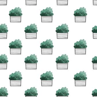 Hausblumen in töpfen. vektor nahtlose muster im doodle-stil