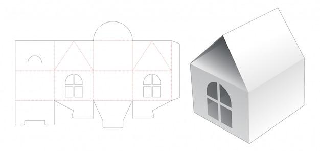 Hausbox mit gestanzter fensterschablone