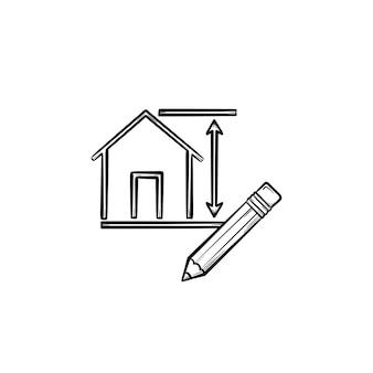 Hausdesign handgezeichnete umriss-doodle-symbol. bleistift für die konstruktion von hausdesign-vektor-skizzen-illustration für print, web, mobile und infografiken isoliert auf weißem hintergrund.