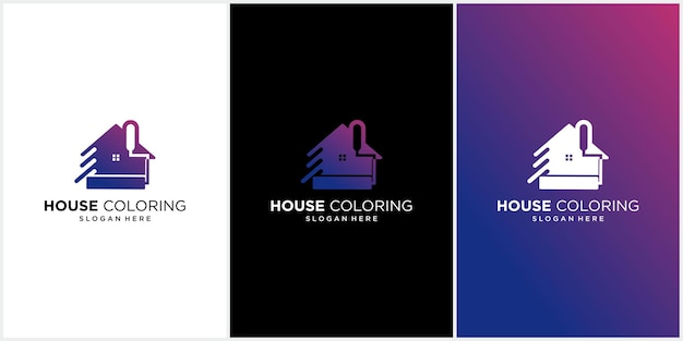 Hausfarbe logo set hausfarbe logo, immobilien logo mit bunten häusern, moderne bunte hauslackiererei logo malerei logo, haus, haus, bunte vektorvorlage