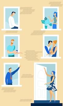 Hausfenster mit den nachbarn, die tägliche sachen tun.