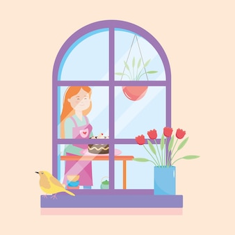 Hausfenster zeigt eine frau, die einen kuchen über orange hintergrund hält