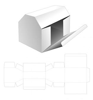 Hausförmige verpackung mit gestanzter schablone mit seitlichem klappöffnungspunkt