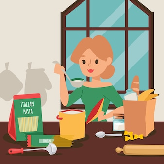 Hausfrau, die abendessen in der küche kocht