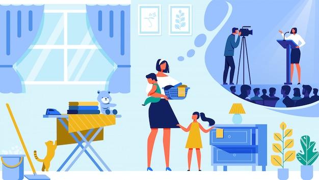 Hausfrau, die über karriere und popularität träumt