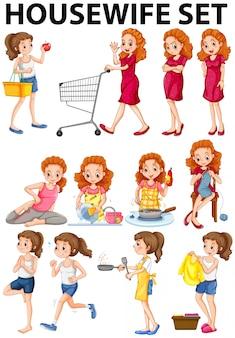 Hausfrau, die verschiedene tätigkeiten tut