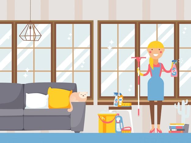 Hausfrau, die wohnung säubert