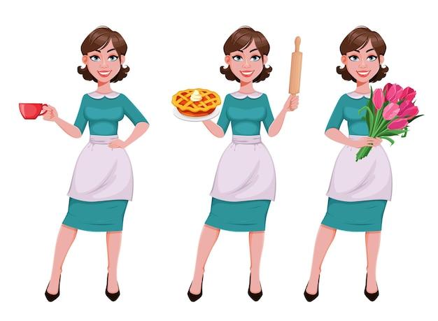 Hausfrau in schürze satz von drei posen