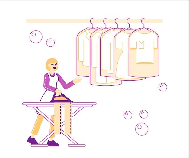 Hausfrau oder dienstmädchen im waschsalon. mitarbeiterin mit weiblichem charakter