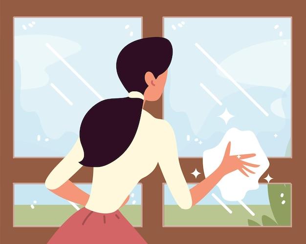 Hausfrau putzt fenster