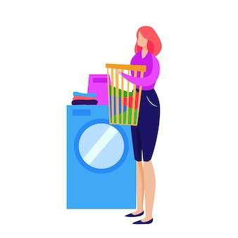 Hausfrau wäsche waschen