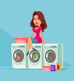 Hausfrau wäscht.