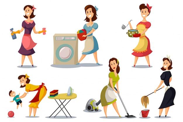 Hausfrauen in einem satz der weinleseretrostil-fünfziger jahre.
