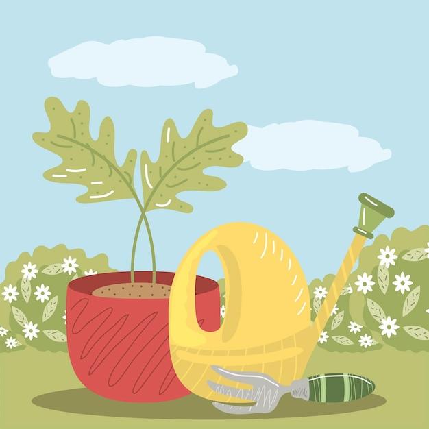 Hausgarten rechen topfpflanze und gießkanne illustration