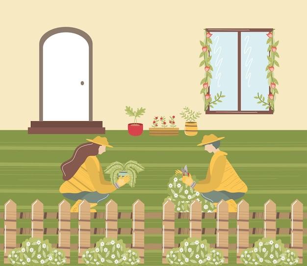 Hausgartenpaar mit pflanzenzaunfronthausillustration