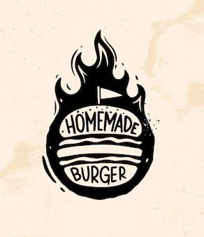 Hausgemachte burger-logos, etikett