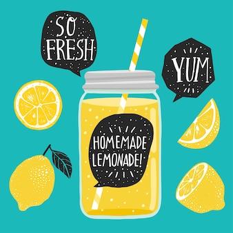 Hausgemachte limonade, moderne kalligraphie und zitronensaft, limonade in einem glas mit handschriftlicher beschriftung