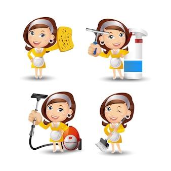 Haushälterin mit verschiedenen posen