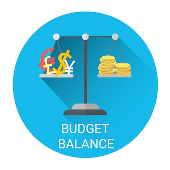 Haushaltsbilanz-skala-geschäfts-wirtschafts-ikone