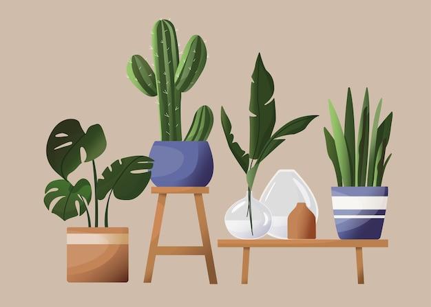 Haushaltsblumen in töpfen. schöne illustration im skandinavischen stil. tropische blätter, vasen, töpfe, blumenständer. zeichnung im cartoon flat style
