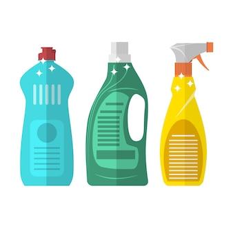 Haushaltschemie, die plastikflaschen reinigt