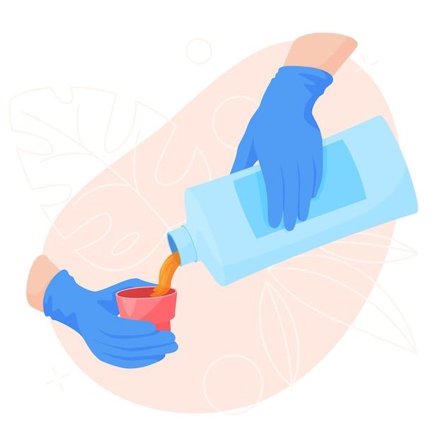 Haushaltschemikalien in der hand, die oberflächen von schmutzwischfleckenillustration abbildung reinigen