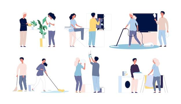 Haushaltsfamilie. leute, die seine hauptzimmer säubern, glückliche männliche weibliche arbeitsfiguren