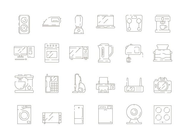 Haushaltsgegenstände. dünne linie ikonen des küchenelektrogerätmischer-mikrowellenfernsehcomputerkühlschrank-vektors