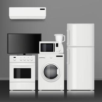 Haushaltsgeräte für die küche. haushaltsgeschäft elektrowerkzeuge elektronische gegenstände realistische bilder
