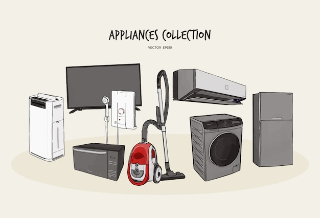 Haushaltsgeräte. satz haushaltsküchentechnik, skizze des handabgehobenen betrages