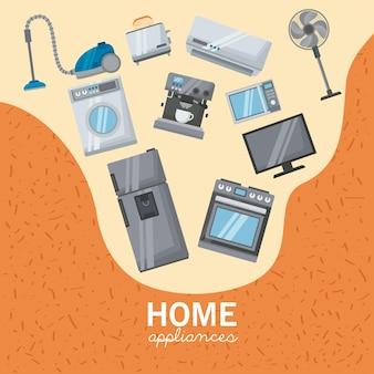 Haushaltsgeräte stellen icons poster ein