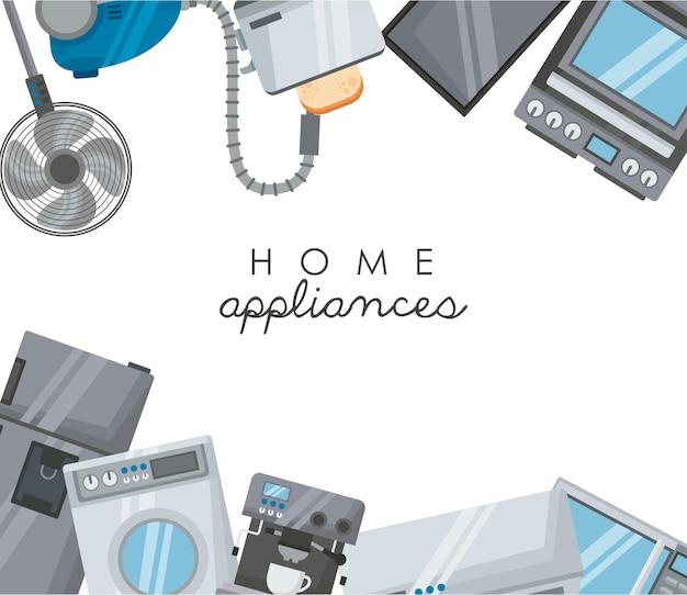 Haushaltsgeräte stellen ikonenrahmen ein