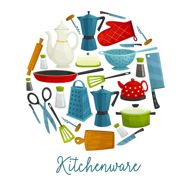 Haushaltsgeschirr, küchenutensilien, kochwerkzeuge und besteck, vektorrestaurant und haushaltszubehör. bratpfanne, kaffeekanne, korkenzieher und kochmesser, teekanne, reibe, pfannenwender und wasserkocher