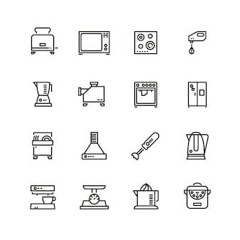Haushaltslinie symbole der küchen- und kochgeräte