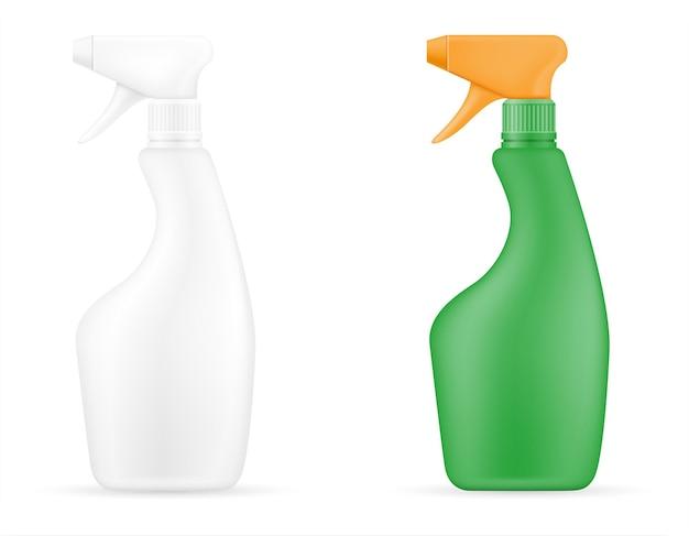Haushaltsreinigungsprodukte in einer leeren schablone der plastikflasche