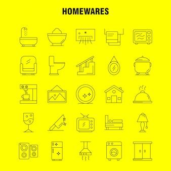 Haushaltswaren linie icons set: haushaltsgeräte, haus, haushaltswaren, haus, pfanne, badezimmer, möbel