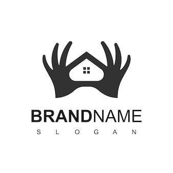 Haushand, immobilienpflege und immobilien-logo-vorlage