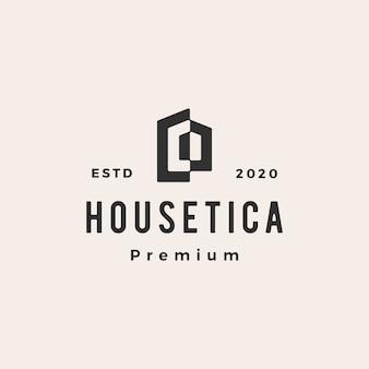 Haushaus hypothek dach architekt hipster vintage logo symbol illustration