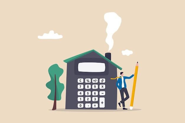 Haushypothekberechnung, wohnbudget, versicherung oder kosten und ausgaben, immobilieninvestition oder heimdekorationsgeldkonzept, geschäftsmannagent oder makler, der bleistift mit hausrechner hält