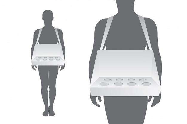Hausierer tablett auf weißem hintergrund für branding-artikel