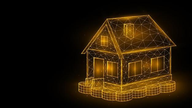 Hausinvestitionskonzept polygonale vektorgrafik eines hauses, das auf einem stapel münzen steht