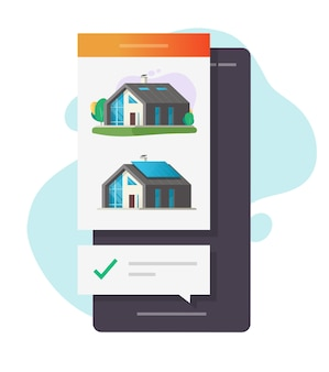 Hauskauf oder hausvermietung web-app mit online-auswahl häkchen hinweis auf dem handy
