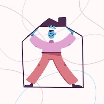 Hauskonzept glückliches männliches maskottchen, das im rahmen des hauses steht